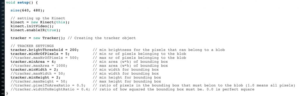 Kinect code setup